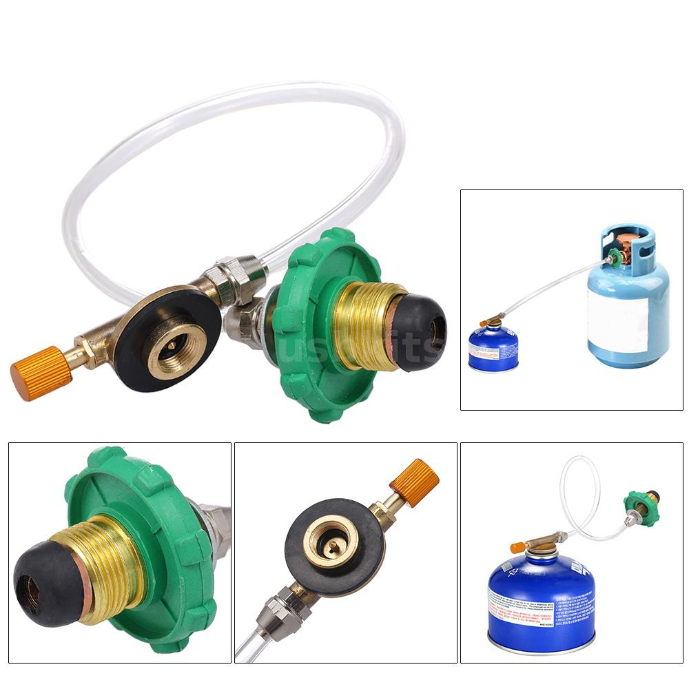Camping Gas Stove Valve Adapter Propane Refill Gas Tank Adapter Length 78mm